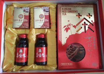 Bộ quà tặng nhân sâm Hàn Quốc 3 món : nước sâm, trà sâm, sâm lát
