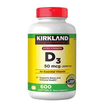Viên uống Vitamin D3 Kirkland Extra Strength D3 50mcg mẫu mới