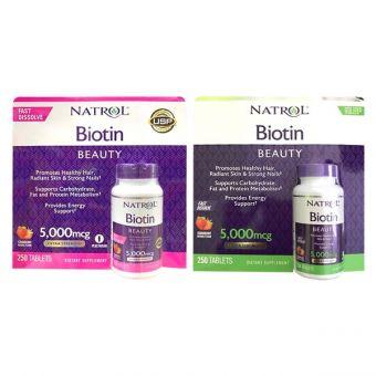 Viên ngậm hương dâu Natrol Biotin Beauty 5000mcg 250 viên của Mỹ