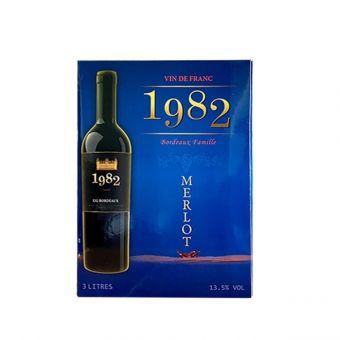 Rượu vang 1982 Merlot hộp 3 lít - Xách tay từ Pháp